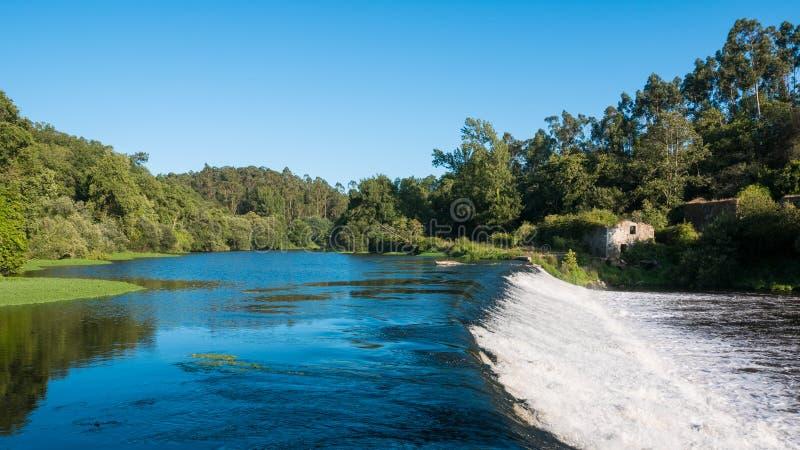 Schnell fließendes Wasser über Verdammung auf Allee-Fluss, Portugal mit Bäumen auf Flussbank lizenzfreies stockfoto