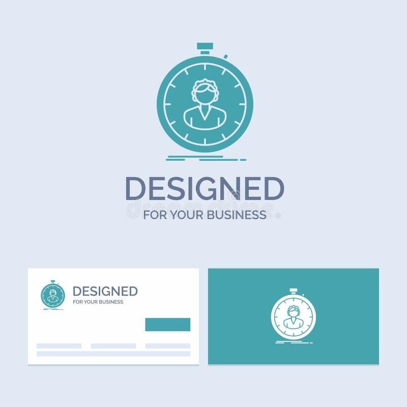 schnell Geschwindigkeit, Stoppuhr, Timer, Mädchen Geschäft Logo Glyph Icon Symbol für Ihr Geschäft T?rkis-Visitenkarten mit Marke vektor abbildung