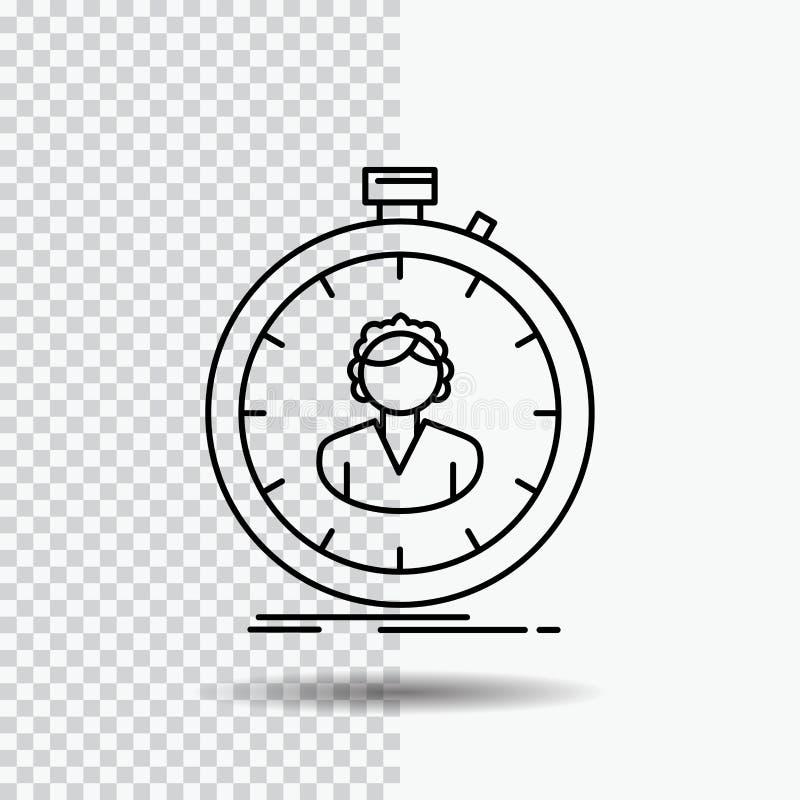 schnell Geschwindigkeit, Stoppuhr, Timer, Mädchen Linie Ikone auf transparentem Hintergrund Schwarze Ikonenvektorillustration lizenzfreie abbildung