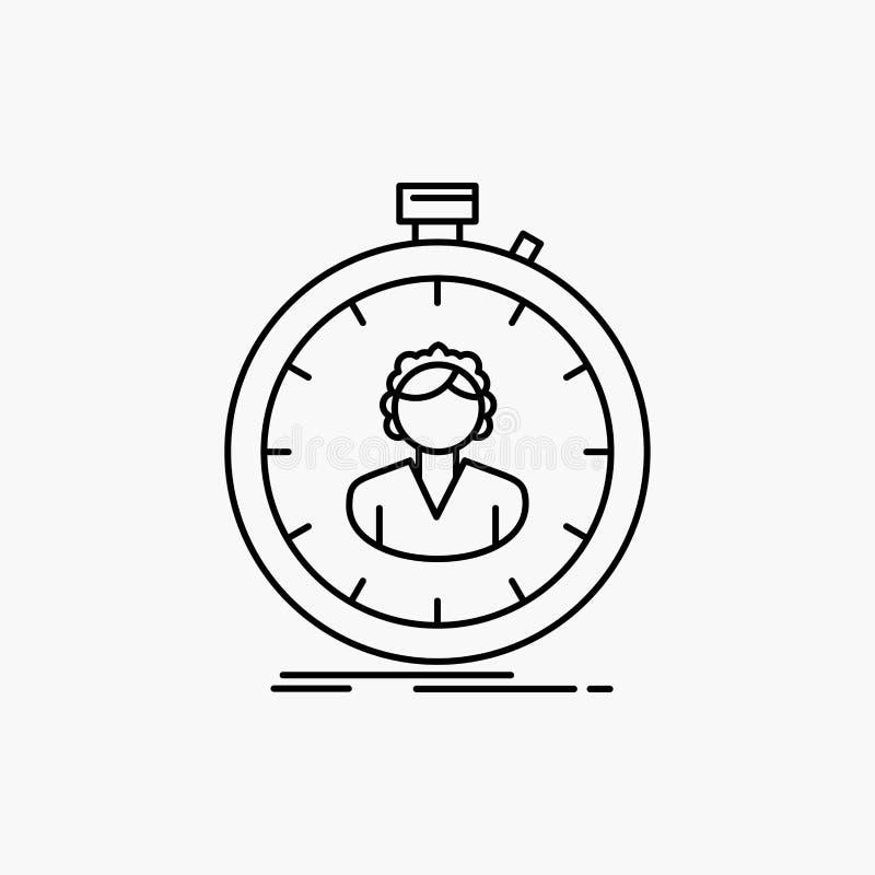 schnell Geschwindigkeit, Stoppuhr, Timer, M?dchen Linie Ikone Vektor lokalisierte Illustration lizenzfreie abbildung