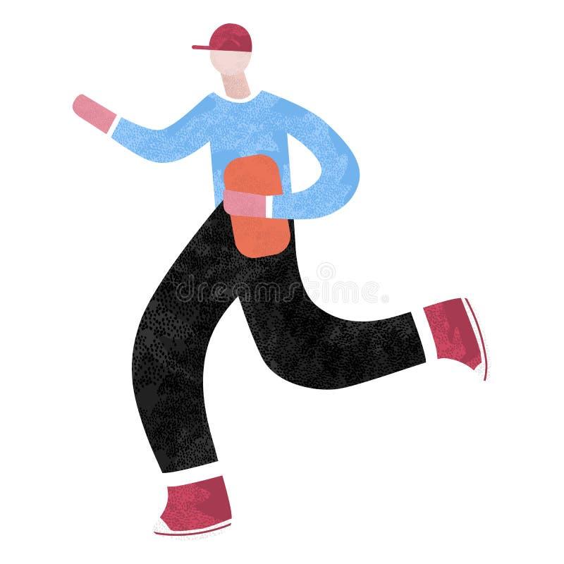 Schnelle Anlieferung Mann läuft mit einem Kasten in seinen Händen lizenzfreie abbildung