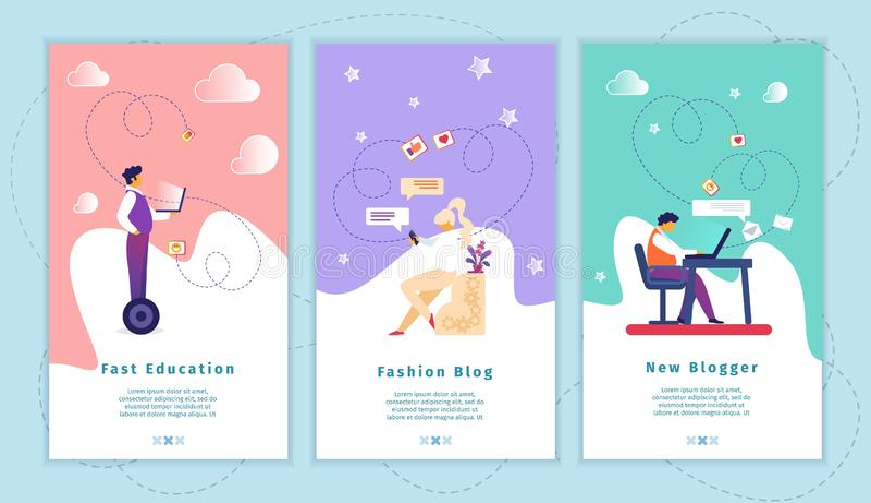 Schnelle Ausbildung, Mode-Blog, neuer Blogger App-Satz stock abbildung