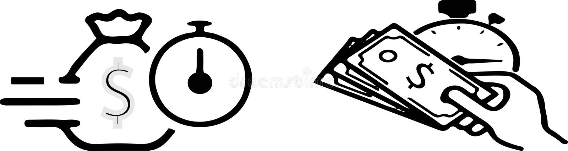 Schnelle Bargeldikone auf weißem Hintergrund vektor abbildung