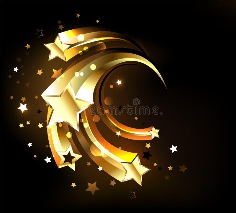 Schnelle goldene Sterne Goldsterne lizenzfreie abbildung