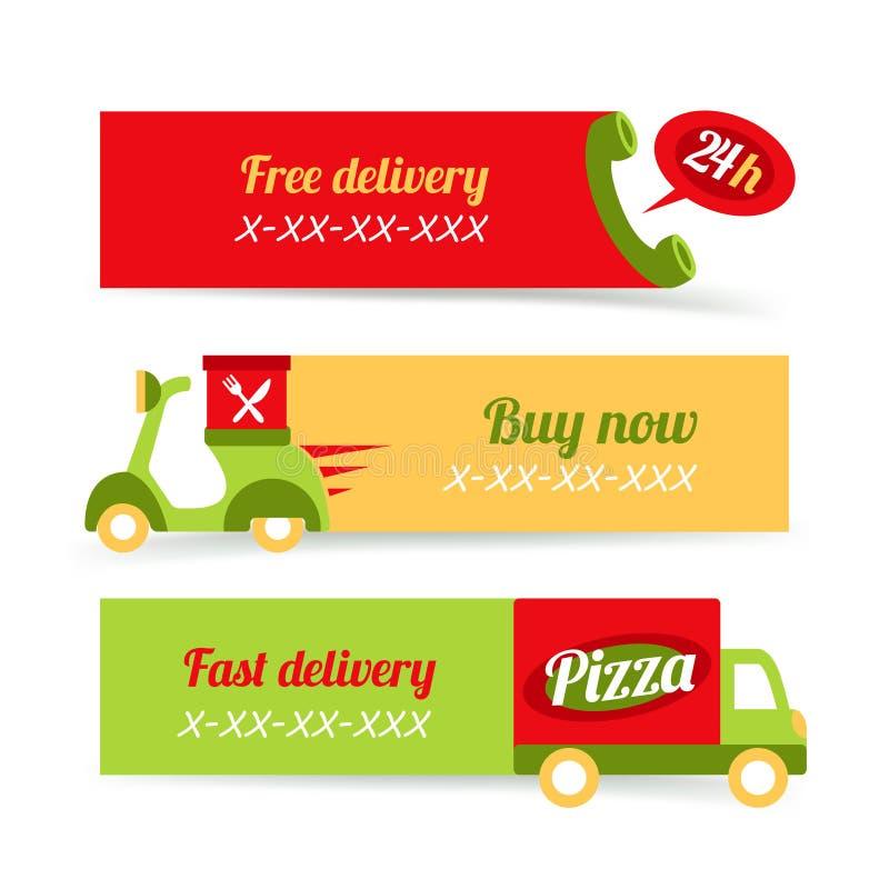 Schnelle Lieferungsfahnen der Pizza vektor abbildung