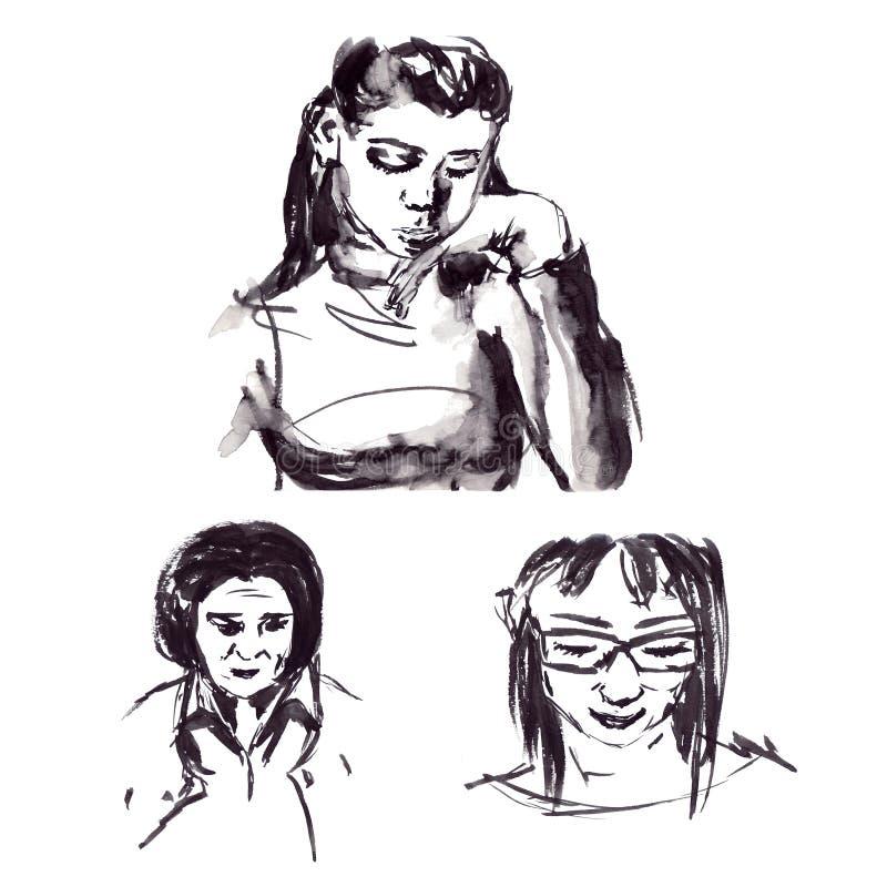 Schnelle Skizzen der schwarzen Tinte der männlichen und weiblichen Porträts in einer grafischen Art stock abbildung
