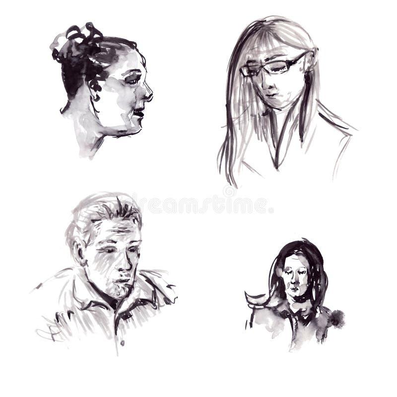 Schnelle Skizzen der schwarzen Tinte der männlichen und weiblichen Porträts in einer grafischen Art vektor abbildung