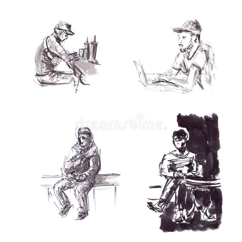 Schnelle Skizzen von schwarzen Tintenmännerfiguren in einer grafischen Art, hinter einem netbook und am Tisch lizenzfreie abbildung