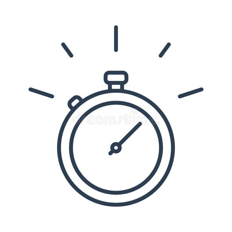 Schnelle Stoppuhr, begrenztes Angebot und Fristenkonzept, Vektorlinie Ikone lizenzfreie abbildung