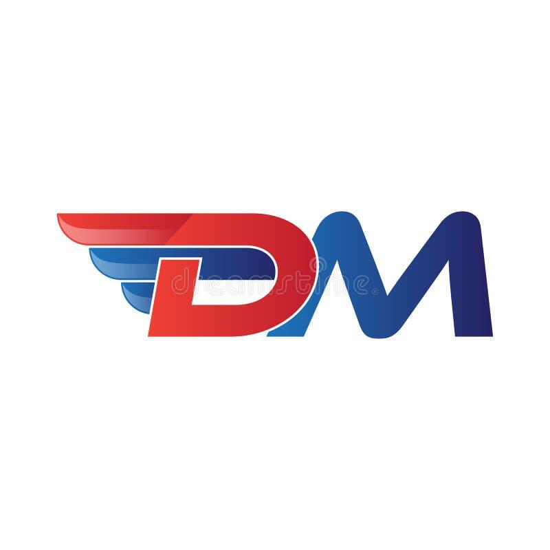 Schneller Anfangsbuchstabe DM-Logovektorflügel lizenzfreie abbildung