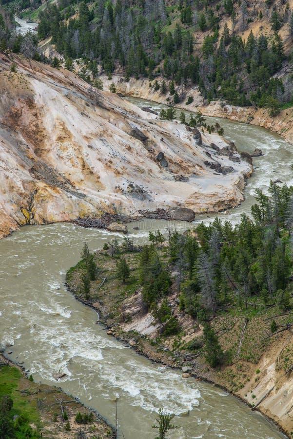 Schneller Fluss-Strom bei Grand Canyon des Yellowstone in Yellowstone Nationalpark, Wyoming lizenzfreie stockbilder