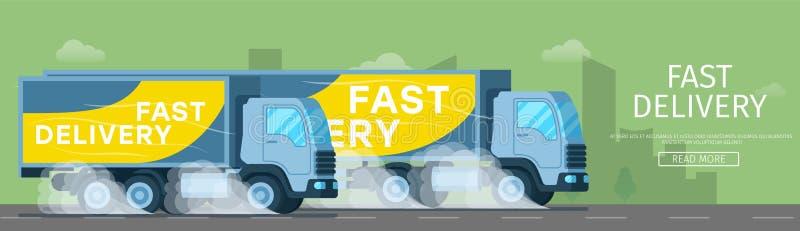 Schneller Lieferwagen, der schnell die Straße fährt lizenzfreie abbildung