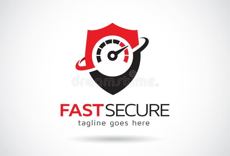 Schneller sicherer Logo Template Design Vector, Emblem, Konzept des Entwurfes, kreatives Symbol, Ikone vektor abbildung