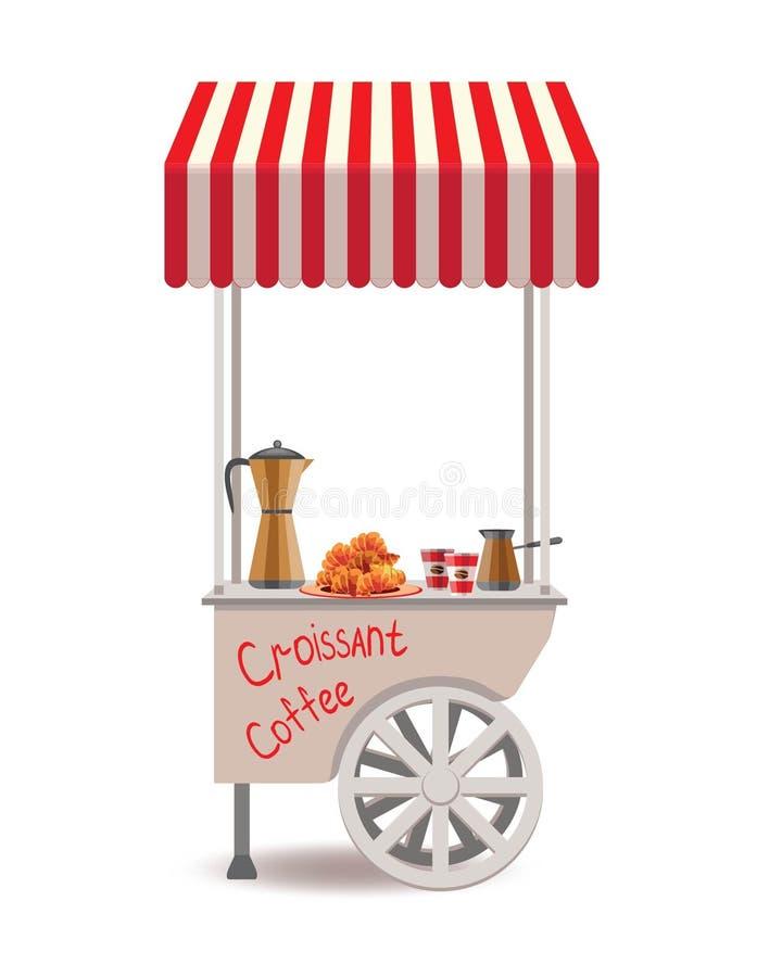 Schneller Straßenlebensmittel-Wohnwagenanhänger Bunte Vektorillustration, nette Art, lokalisiert auf weißem Hintergrund Kiosk auf stockbilder