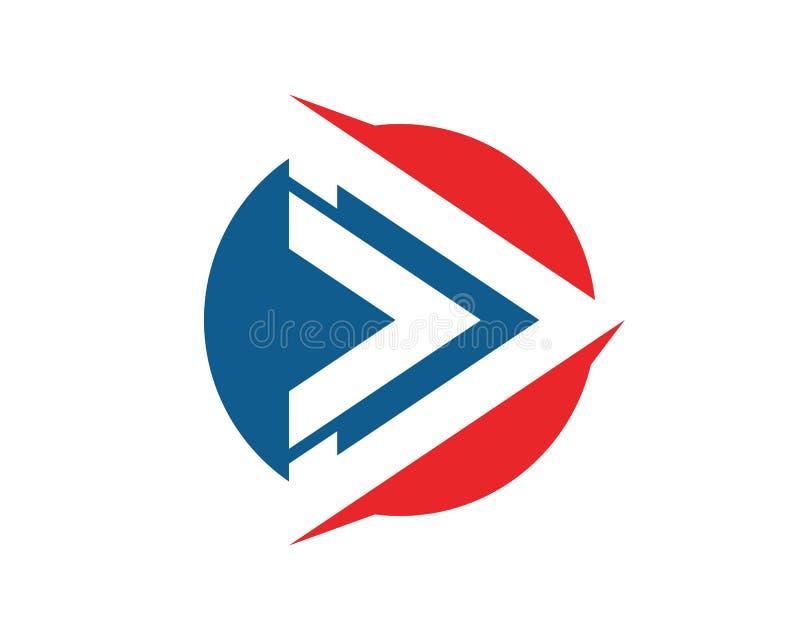 Schnelleres Geschäftslogo des Dreiecks und Symbol-APP-Schablone stock abbildung