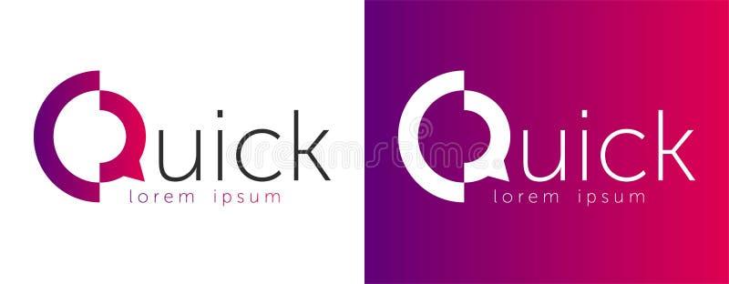 Schnelles beschriftendes Vektorskizzenlogo Entwurfslogo schnell mit abstraktem Q Zeichen des Zeichen-Q lizenzfreie abbildung