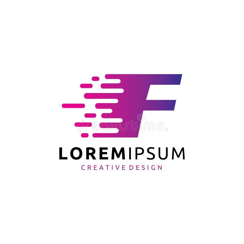 Schnelles Buchstabe-Logo Digital-Daten-F stock abbildung