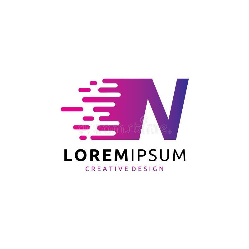 Schnelles Buchstabe-Logo Digital-Daten-N lizenzfreie abbildung