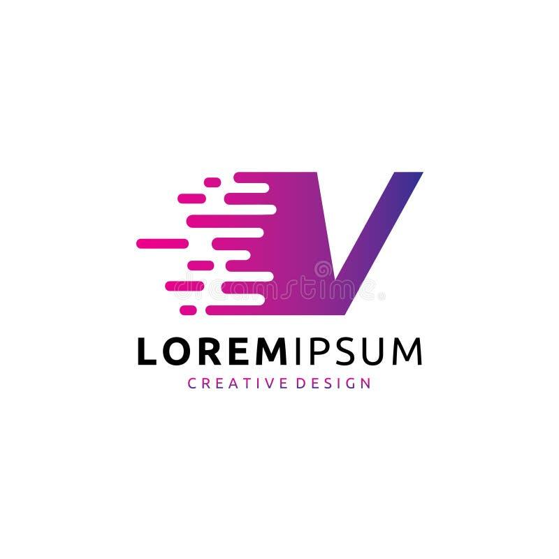 Schnelles Buchstabe-Logo Digital-Daten-V lizenzfreie abbildung