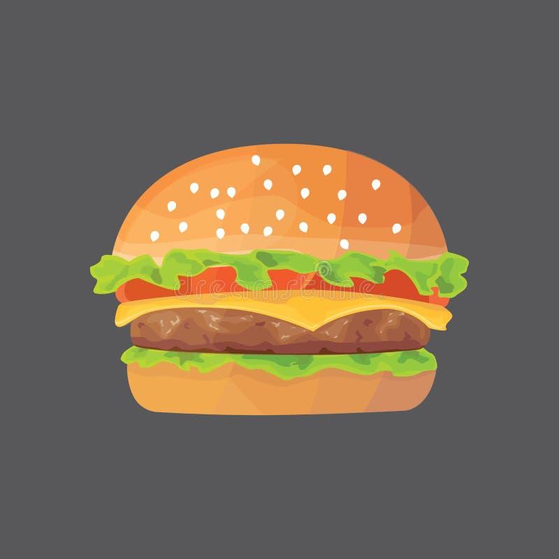 Schnellimbiß der Burgerkarikatur Cheeseburger- oder Hamburgervektorillustration fett vektor abbildung