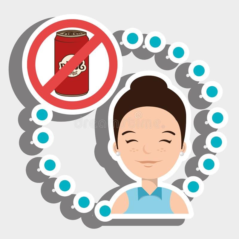 Schnellimbiß der Frauenkarikatur verboten lizenzfreie abbildung