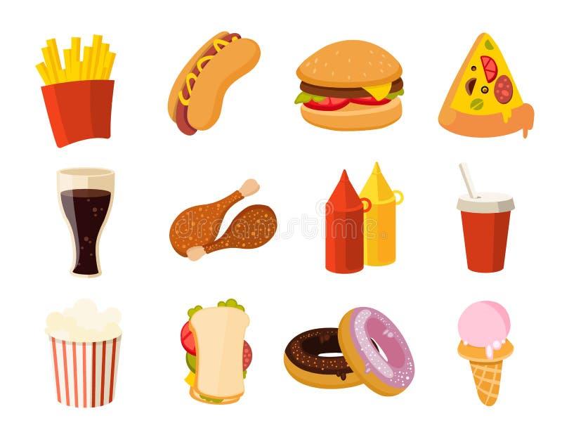 Schnellimbiß der Karikatur, Burger, Getränk, Hühnertacos, Salat, Würstchenvektorsatz vektor abbildung