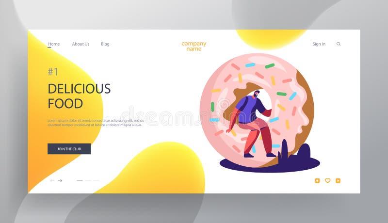 Schnellimbiß, Gebäck-Website-Landungs-Seite, kleiner Mann, der auf enormem Donut, Bäckerei, süße Festlichkeit, Süßigkeiten, Fastf vektor abbildung