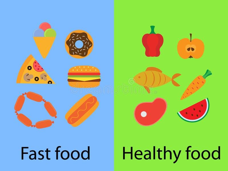 Schnellimbiß und gesundes Lebensmittel stockbilder