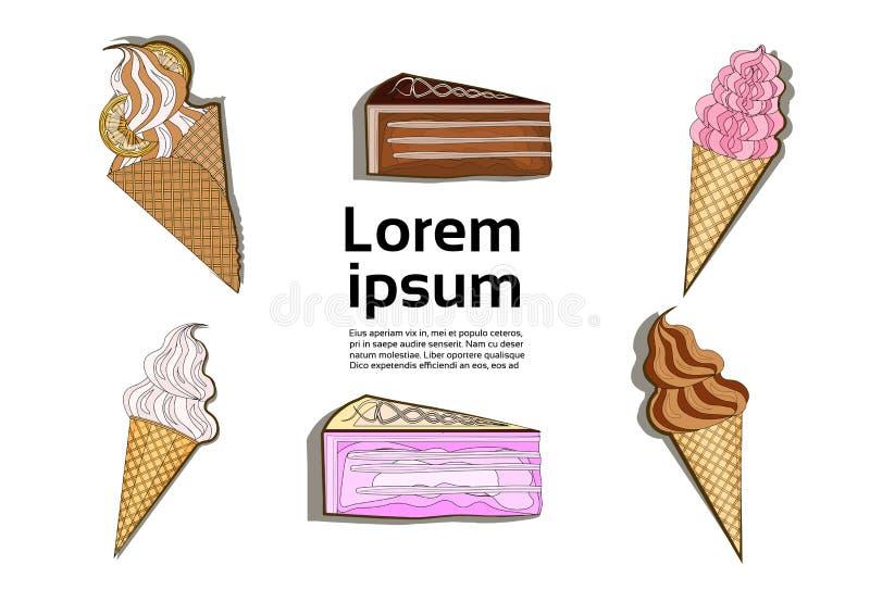 Schnellimbiss-Konzeptes des Nachtischs der Eiscreme-Kuchenschokolade flaches Design des bunten lizenzfreie abbildung
