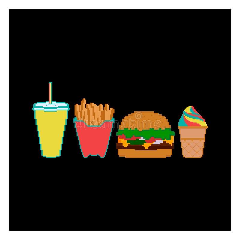 Schnellimbiss- und Getränkeikonensammlung des Pixels vektor abbildung