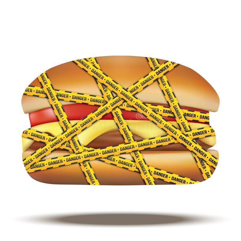 Schnellimbissburger mit Gefahrenwarnenden Bändern vektor abbildung
