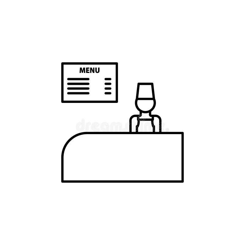 Schnellimbissentwurfsikone des Bargeldschreibtisches Element der Einkaufsikone für bewegliche Konzept und Netz apps Dünne Linie S lizenzfreie abbildung