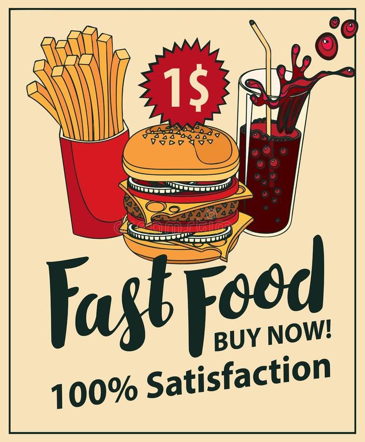 Schnellimbissfahne mit Kolabaum, Hamburger und Fischrogen stock abbildung