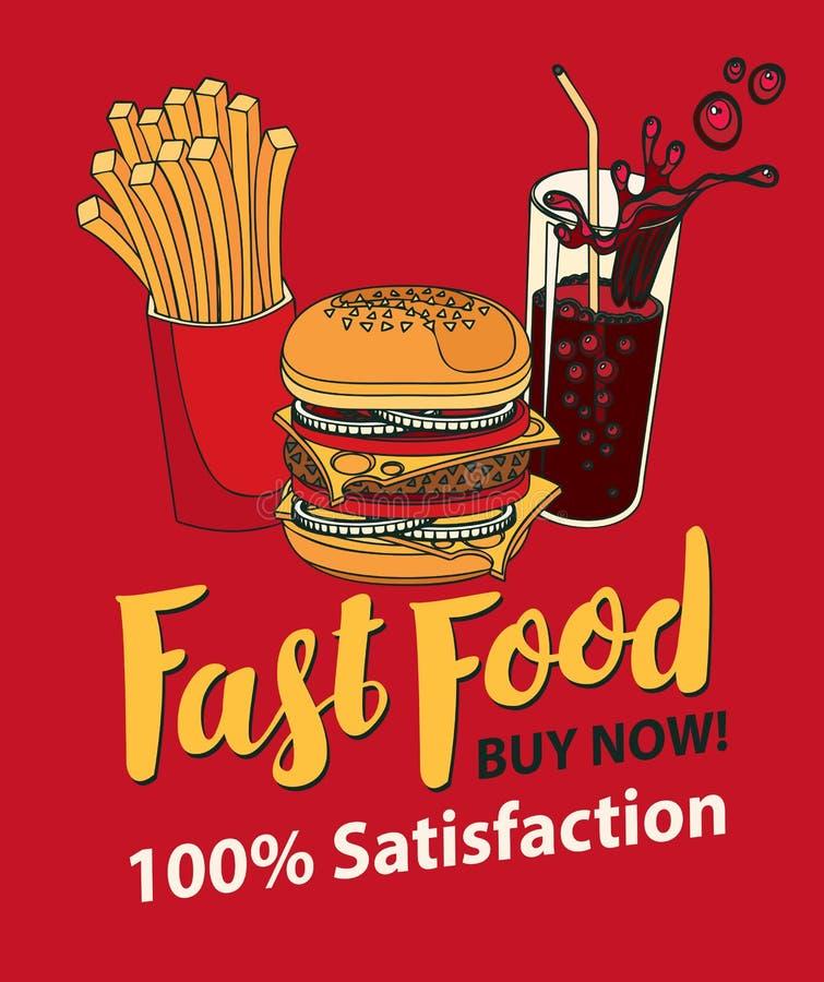 Schnellimbissfahne mit Kolabaum, Hamburger und Fischrogen lizenzfreie abbildung