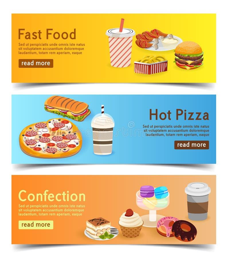 Schnellimbissfahnen für Auftragslieferung online stellen Sie von den Burgern, von der Pizza und von den Nachtischen ein stock abbildung