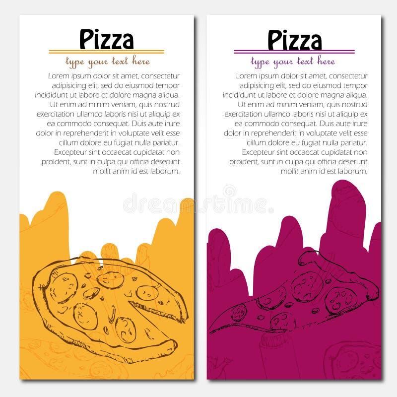 Schnellimbisshintergrund Pizzafahnen stock abbildung
