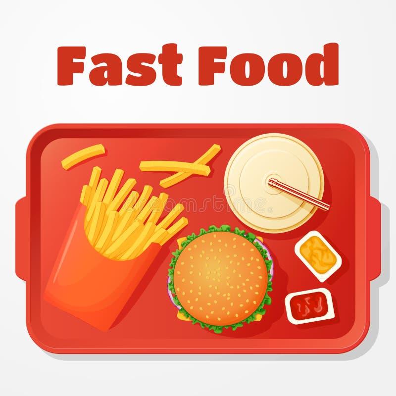 Schnellimbissmittagessenikone, Menü, Plakat Burger, Fischrogen, Getränk und öffnen Badpakete lizenzfreie abbildung