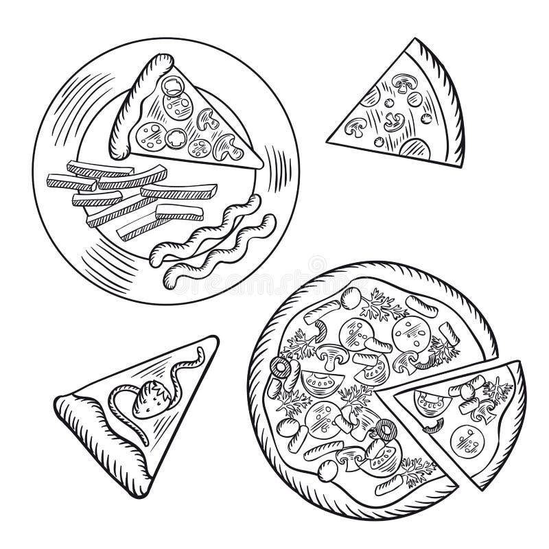 Schnellimbisspizza, Pommes-Frites und Beerentorte vektor abbildung