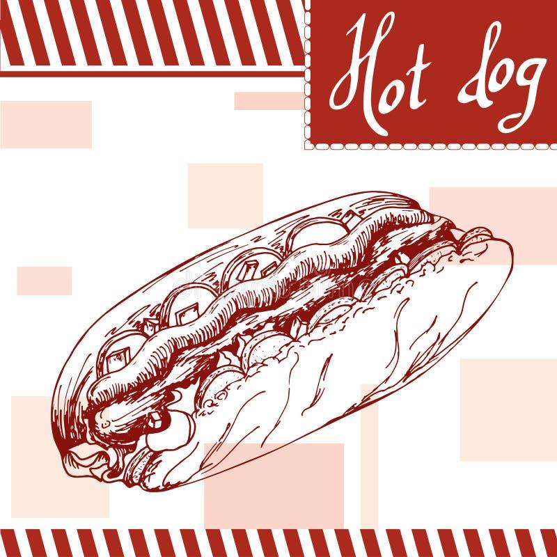Schnellimbissplakat mit Hotdog Retro- Illustration des Handabgehobenen betrages Weinleseburgerdesign schablone vektor abbildung