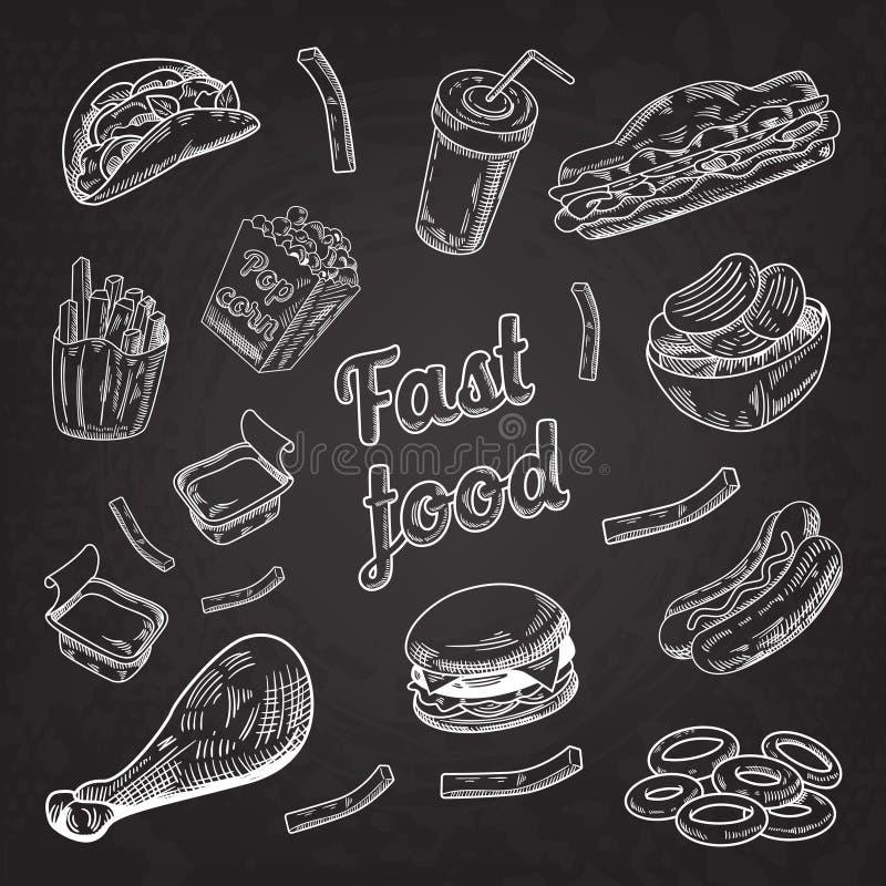 Schnellrestaurant-Menü-Tafel Hand gezeichneter Skizzen-Burger-Pommes-Friteshotdog stock abbildung