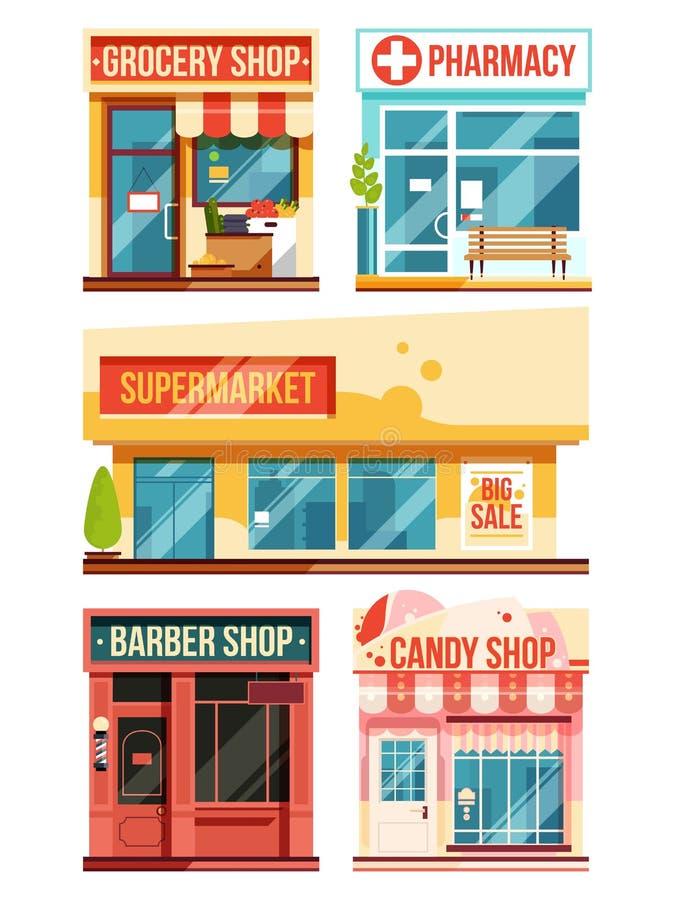 Schnellrestaurant und Butiken Gesetztes Isolat des Vektors auf weißem Hintergrund lizenzfreie abbildung