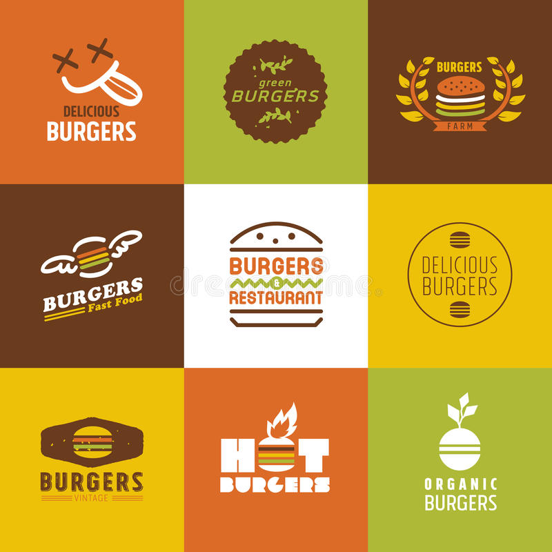 Schnellrestaurantvektor Logos und Ikonen eingestellt stock abbildung