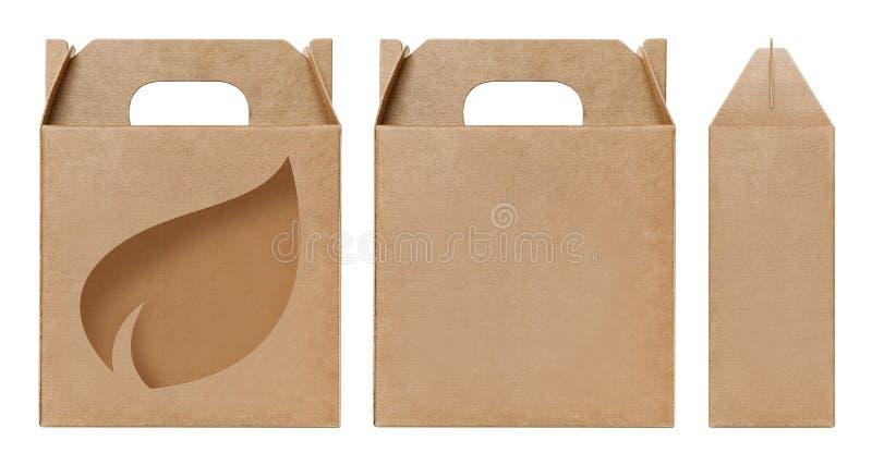 Schnitt braune Fensterform des Kastens Verpackungsschablone, leere lokalisierter weißer Hintergrund Kraftpapier-Kastens Pappe her lizenzfreie stockbilder