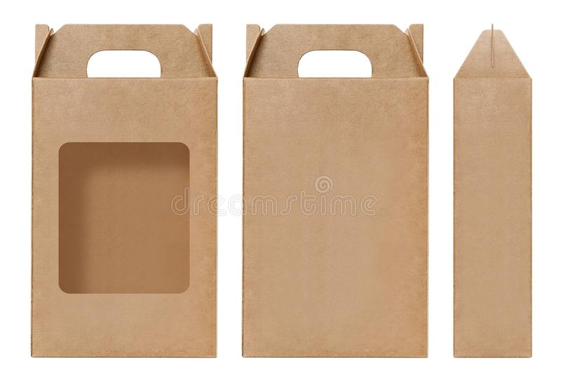 Schnitt braune Fensterform des Kastens Verpackungsschablone, leere lokalisierter weißer Hintergrund Kraftpapier-Kastens Pappe her stockfotografie