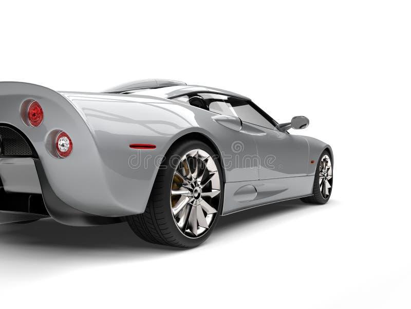 Schnitt Motor- Endstückansicht des modernen silbernen Supersports Schuss lizenzfreie abbildung