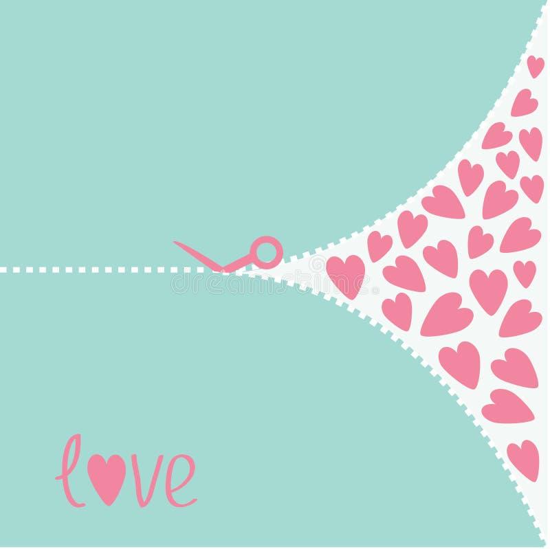 Schnitt von rosa Scheren und von Herzen. Liebeskarte. lizenzfreie abbildung