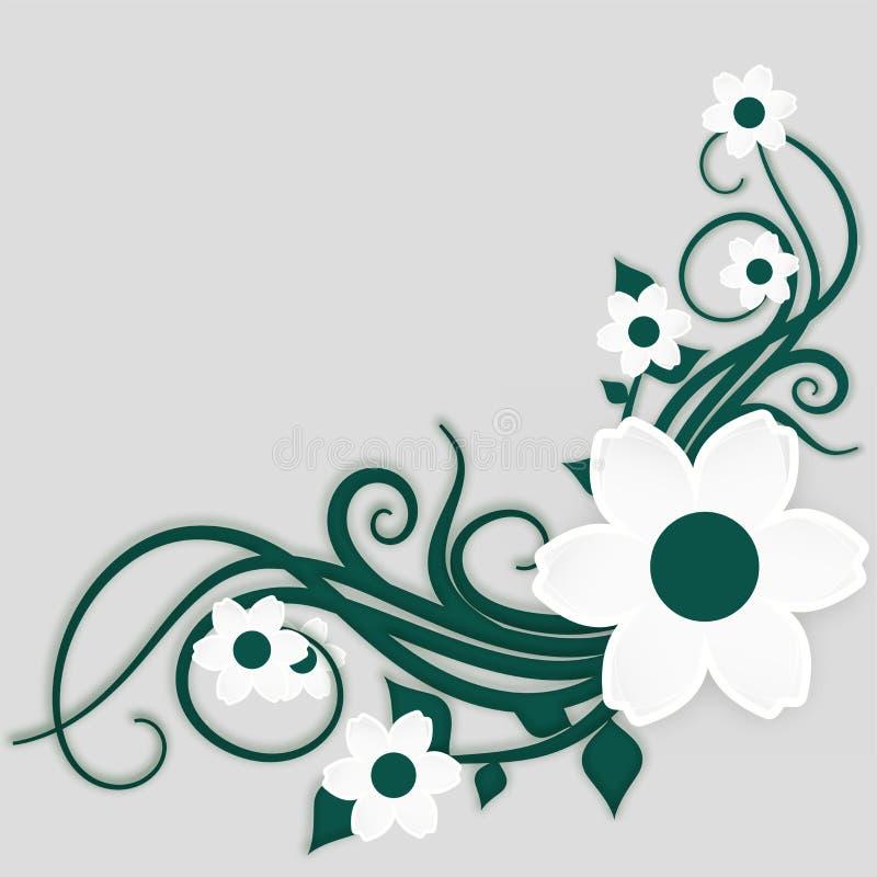 Schnittartblumenmuster des grünen und Weißbuches vektor abbildung