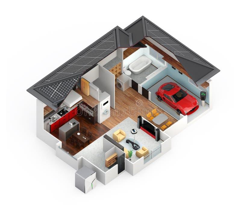 Schnittperspektive des intelligenten Hauses lokalisiert auf weißem Hintergrund lizenzfreie abbildung