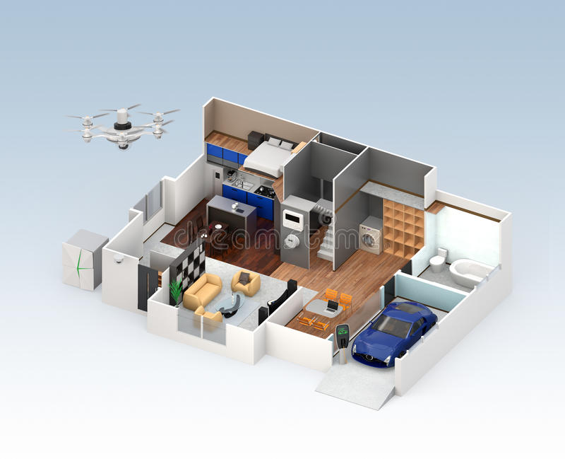 Schnittperspektive des intelligenten Hausinnenraums lizenzfreie abbildung