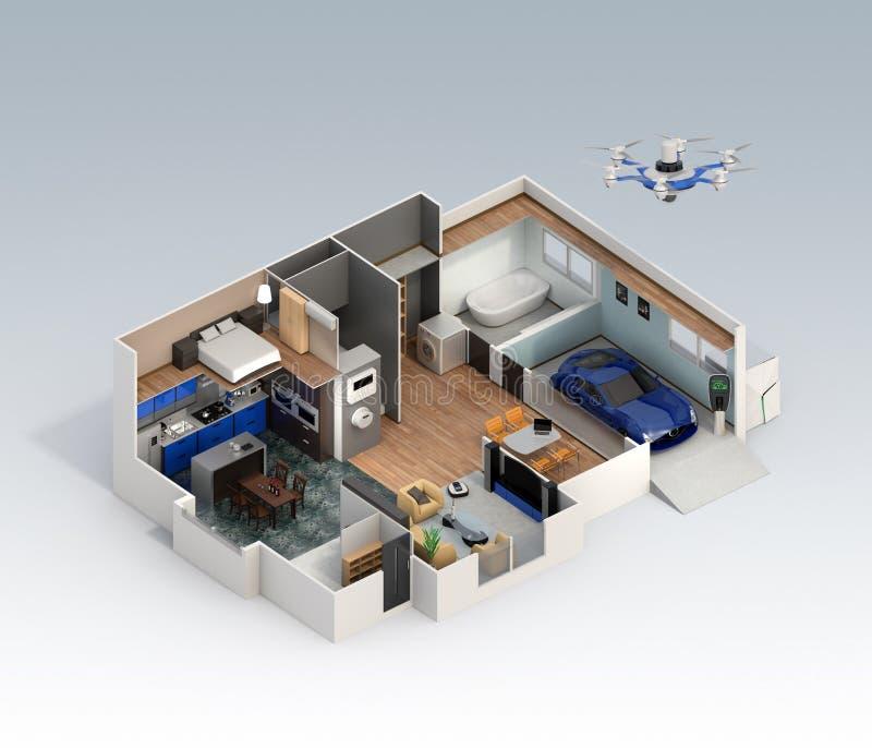 Schnittperspektive des intelligenten Hausinnenraums stock abbildung